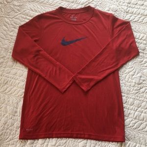 Boy's Nike Dri-Fit Red Long Sleeve T-Shirt size L